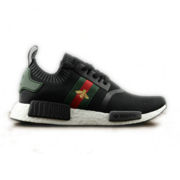 Adidas NMD R1 Custom Black White Logo Bee Gucci